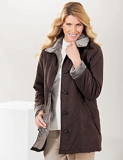 Toggle Fastening Fur Trim Lined Jacket
