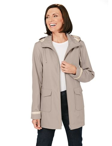 Laminated Zip-Front Jacketwith Hood