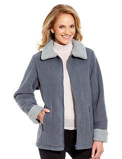 Ladies Borg Trim Fleece Zip Jacket