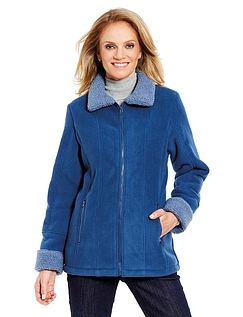 Ladies Borg Trim Fleece Zip Jacket