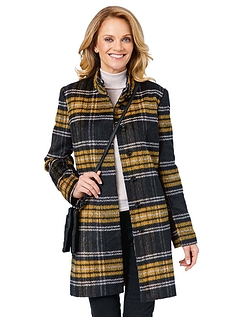 Check Design Funnel Neck Coat - BLACK BRUSHED CHECK