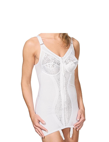 Zip Front Corselette By Naturana - White