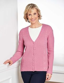 V-Neck Cable Design Cardigan