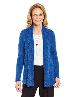 Crochet Back Feather Yarn Cardigan