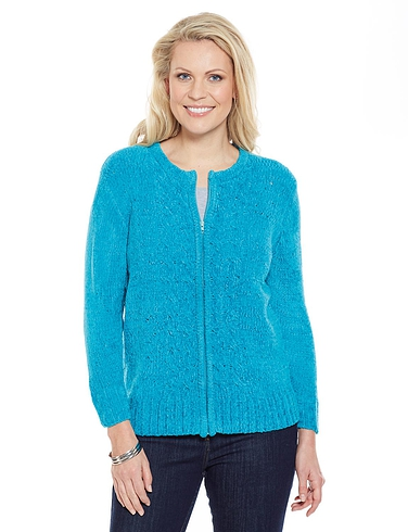 Chenille Cable Zip Cardigan