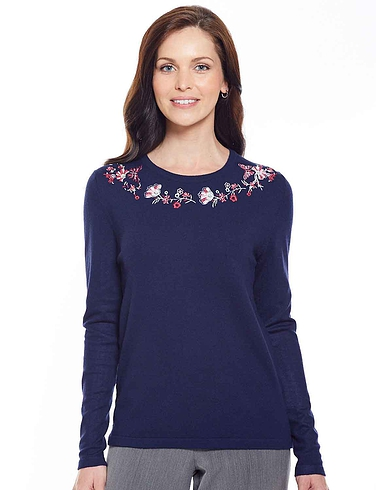 Butterfly Embroidered Jumper - Navy