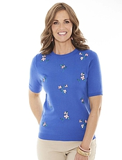 Ladies Floral Embroidered Short Sleeve Jumper