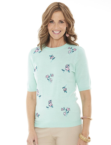 Ladies' Floral Embroidered Short Sleeve Jumper