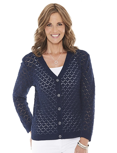 Pointelle Ladies Knit Cardigan