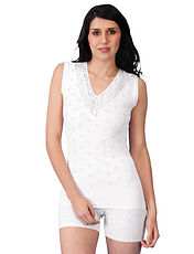 Cotton Lace Trim Sleeveless V Neck Vest