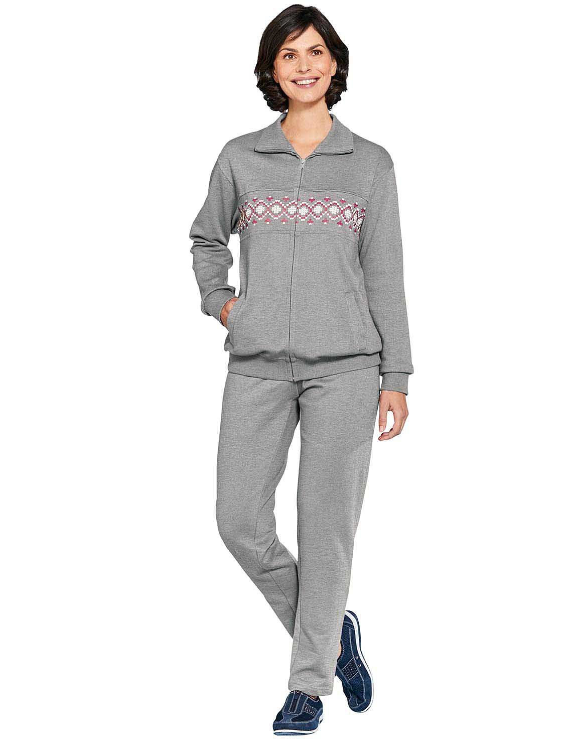 This leisure suit womens outfit comes in two neck styles, a scoop neck and a V-neck design. The asymmetrical hem line gives it added style and it's a great for covering your tummy and your hips. Women over 40, women over 50 and beyond are loving these leisure suits for sale and you will too.