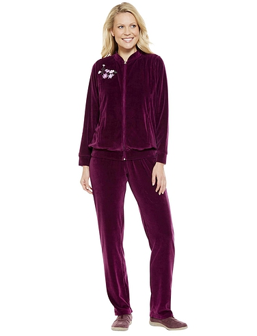 Embroidered Velour Leisure Suit