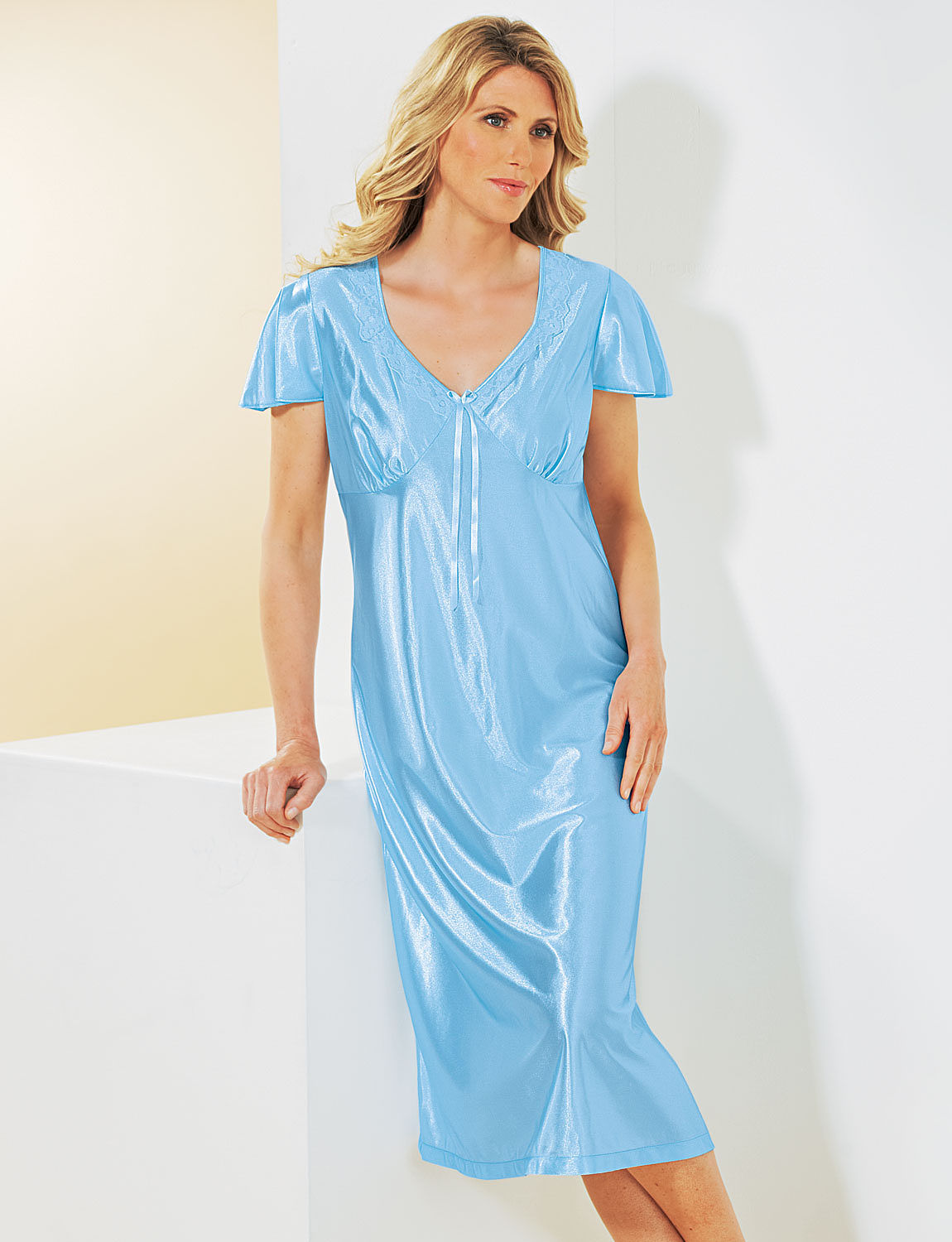 Pack Of 2 Satin Short Sleeve Nightdresses Ladieswear