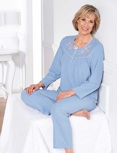 Embroidered Microfleece Pyjama