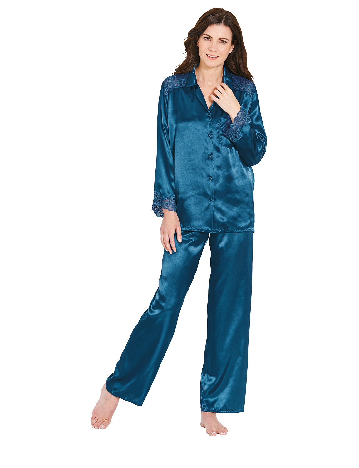 Product Features % Polyester, Premium silk-like satin pajama set for everyday use.