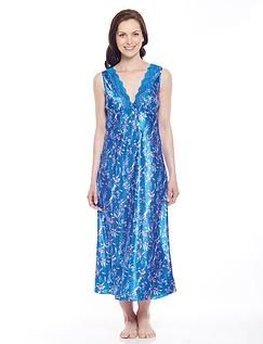 Luxury Satin And Lace Print Nightdress