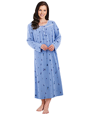 Lace Trim Fleece Print Nightdress