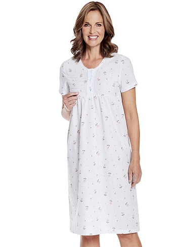 Woven Floral Short Sleeve Nightdress 0891935d3