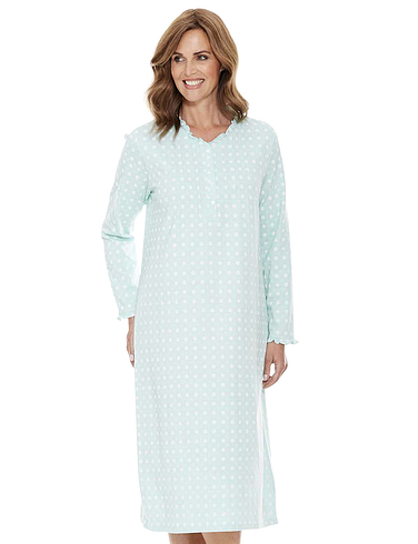 Print Frill Neck Nightdress