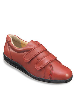 Comfortable Stylish Real Leather Ladies Twin Touch & Close Shoes