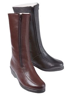 Ladies Real Leather Wool Lined Twin Zip Boot