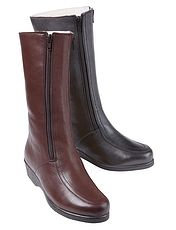 Ladies Leather Long Wool Lined Twin Zip Boot