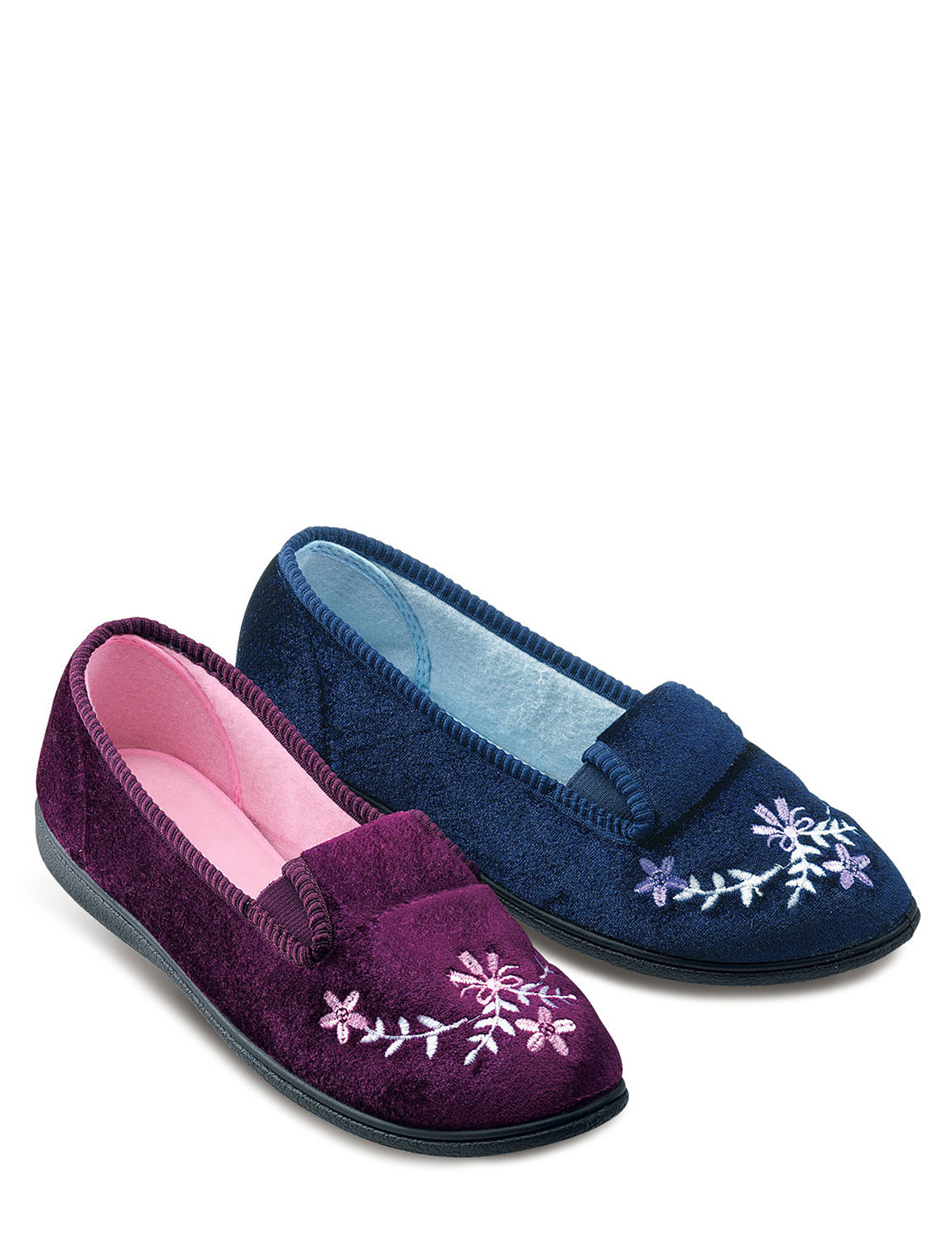 Ladies Velour Embroidered Slippers Ladieswear