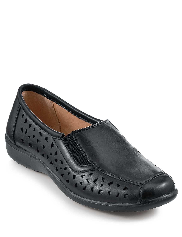 slip on cushion walk shoes with stretch elastic