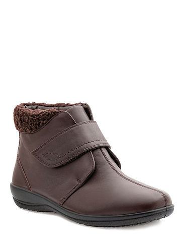 Ida Padders Wide Dual Fit Real Leather Touch Fastening Boot