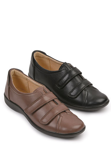Ladies Leather Lined Twin Touch Fastening Shoe