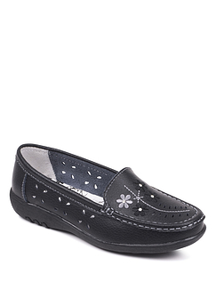 Wide Fit Leather Comfort slip-on Loafer