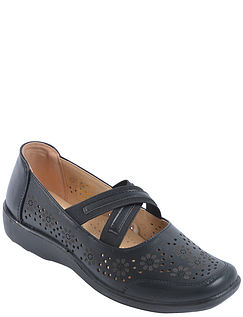 Cross Over Elastic Slip On Comfort Shoe