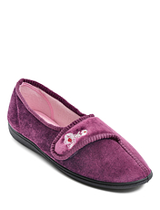 Velour Touch Fasten Slipper
