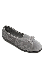 Velour Slipper With Elastic Gusset