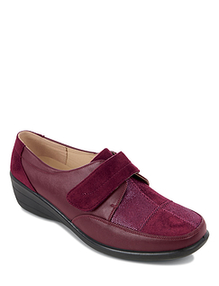 Mock Suede Touch and Close Strap Patchwork Shoe