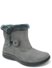 Faux Suede Button And Zip Boot With Thermal Lining.