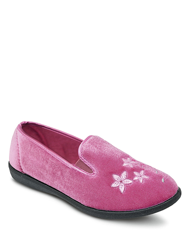 Elastic Gusset Velour Slipper