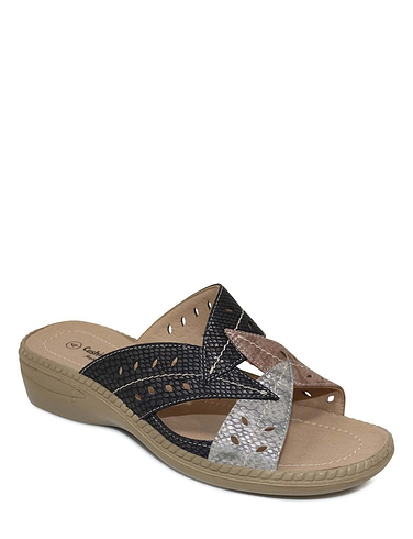 Ladies Cushion Walk Mule Leaf Design Sandal - Bambi