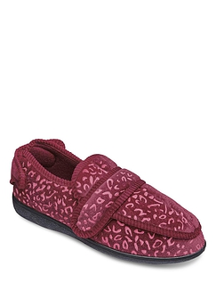 Ladies Fully Opening Touch & Close Velour Slipper