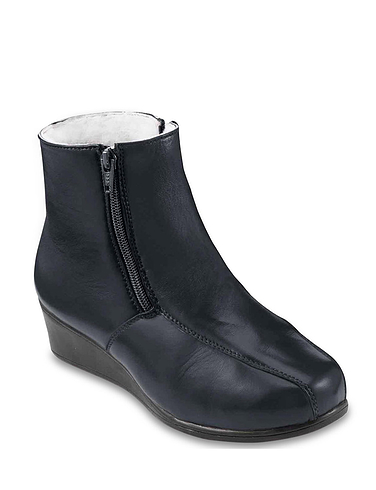 Ladies Leather Twin Zip Wide Fit Wool Lined Ankle Boot