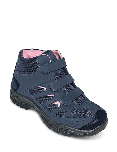 Ladies Touch Fastening Wide Fit Hiker Boot - Navy