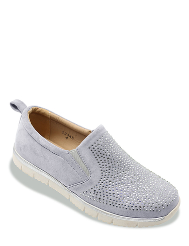 DR Keller Wide E Fit Diamante Front Slip On Leisure Shoe