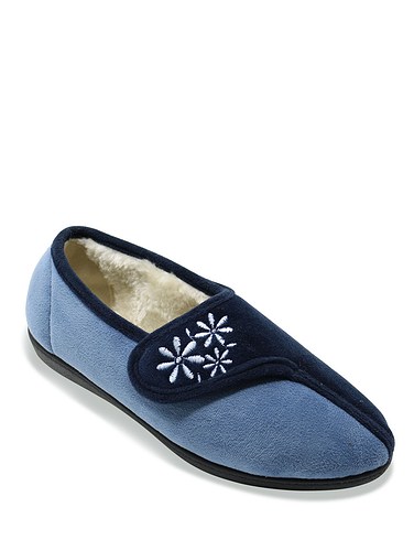 Ladies Touch And Close Embroidered Slipper