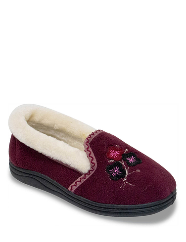 Ladies Applique Faux Fur Trim Slipper