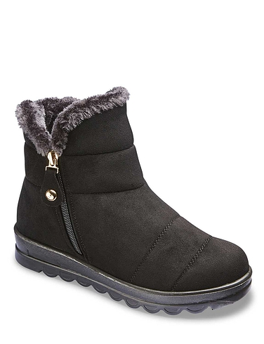 Wide Fit Mock Suede Faux Fur Lined Boot