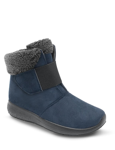 Dr Keller Wide Fit Touch Fasten Sherpa Trim Boot