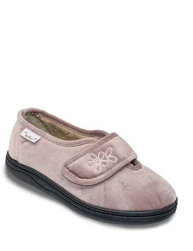 Dr Keller Wide Fit Touch Fastening Slipper