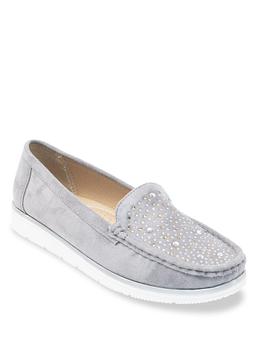 Comfort Plus Wide Fit Diamante Trim Mock Suede Loafer