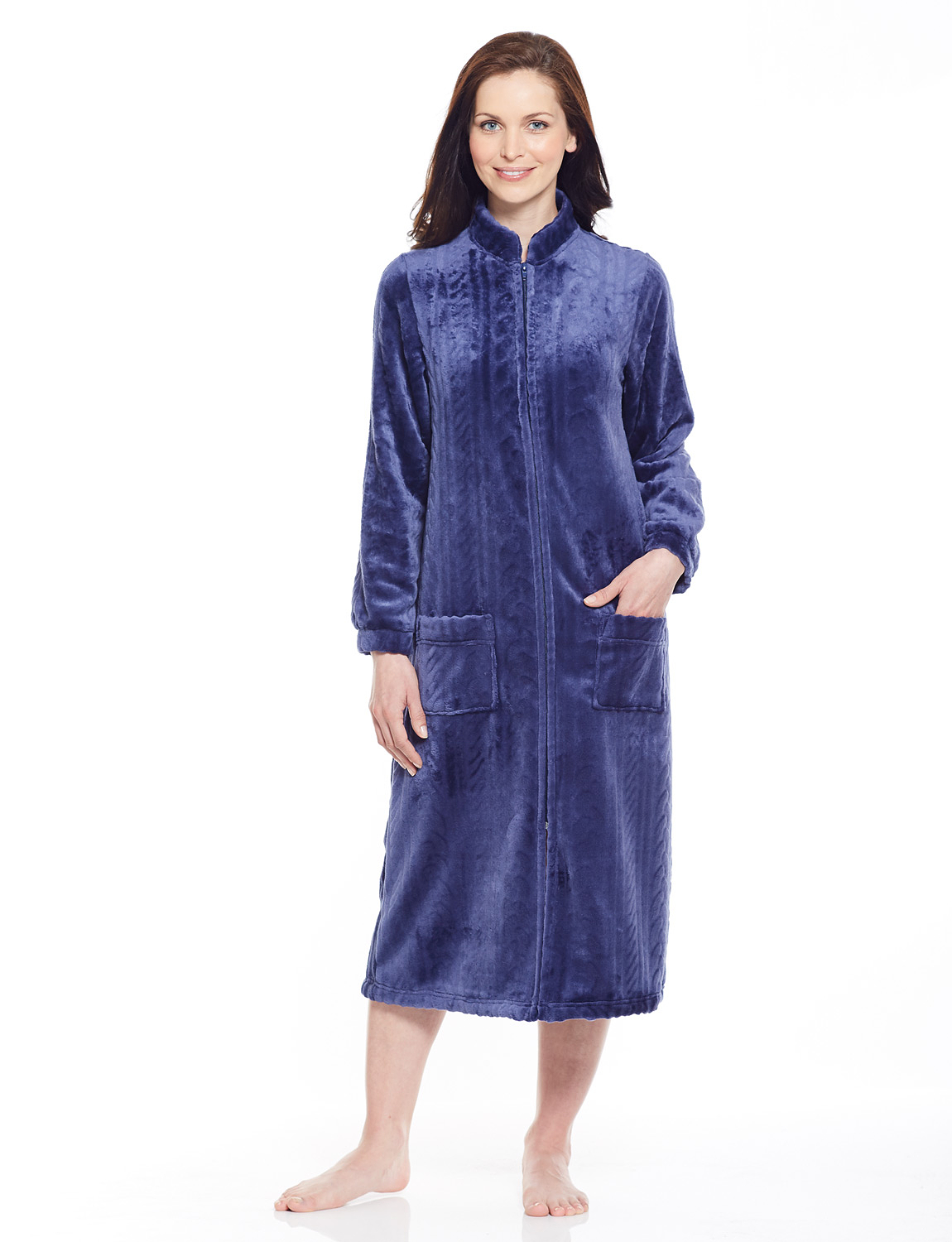 Zip Through Cable Design Embossed Fleece Dressing Gown Chums