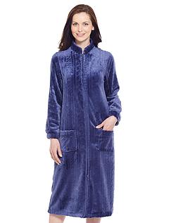 Zip Through Cable Design Embossed Fleece Dressing Gown